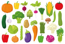 Vegetables Collection: Set Of 26 Different Vegetables In Cartoon Style Vector Illustration
