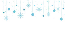 Winter Border With Flat Blue Snowflakes, Stars, Balls And Dots On White Background.