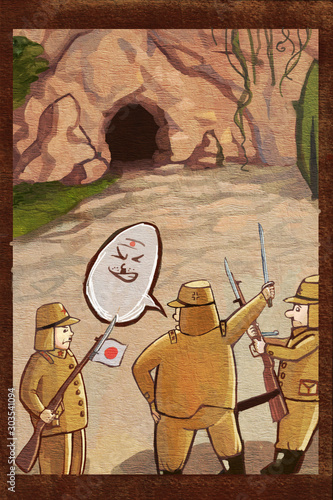 Japanese, Japanese soldiers, World War II, soldiers, anti-Japanese war, illustra Canvas Print