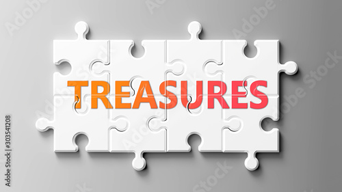 Treasures complex like a puzzle - pictured as word Treasures on a puzzle pieces Canvas-taulu