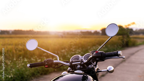 motorcycle in a sunny motorbike on the road riding Fototapet