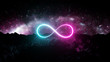 canvas print picture Futuristic retro Infinite sign neon light glowing on rocky ground, 3d render, bokeh background, Pink blue color.