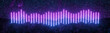 canvas print picture Futuristic retro neon lines light glowing on rocky ground, equalizer style, large banner, 3d render, space starfield background, Purple blue color.