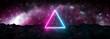 canvas print picture Futuristic retro neon triangular light glowing on rocky ground, large banner, 3d render, bokeh background, Pink blue color.