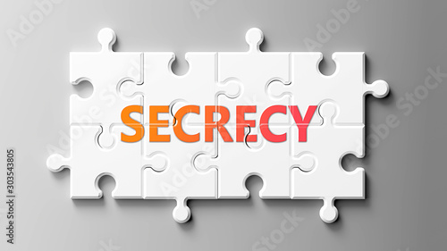Secrecy complex like a puzzle - pictured as word Secrecy on a puzzle pieces to s Canvas Print