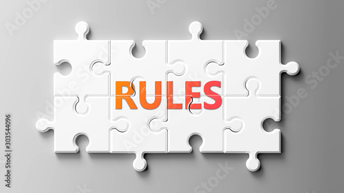Rules complex like a puzzle - pictured as word Rules on a puzzle pieces to show Canvas Print
