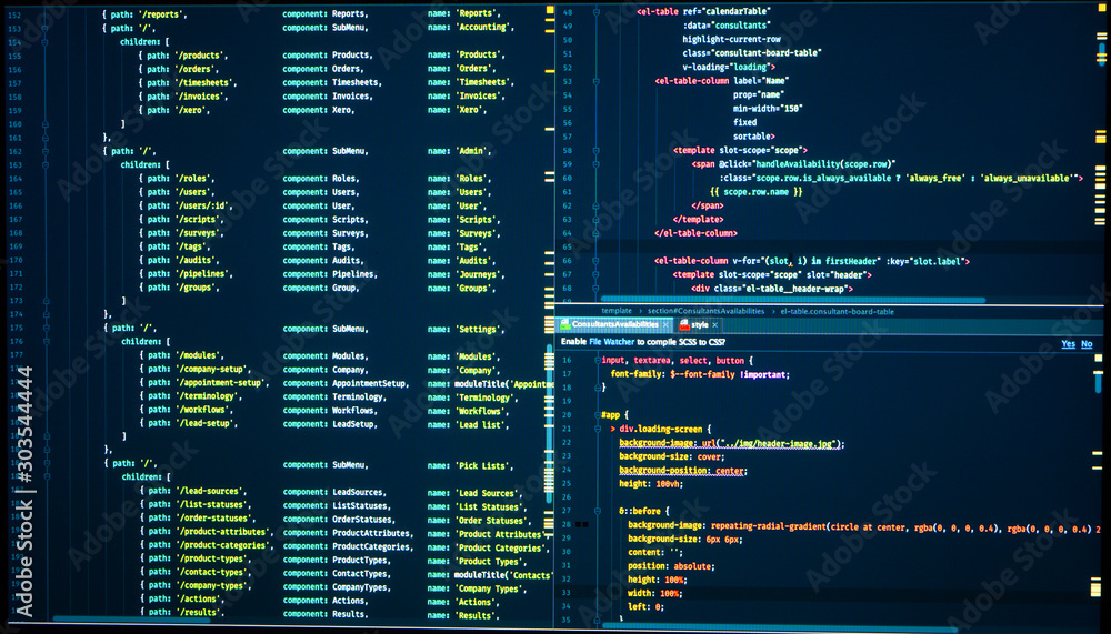 Fototapety, obrazy: Java code. Software programming code. Abstract computer script code. Programming code on the screen. Vue js, markup