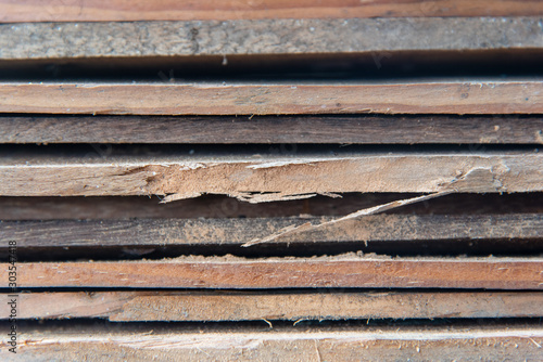 Fototapeta Closeup Layered wooden planks Destroyed by a Ambrosia beetle