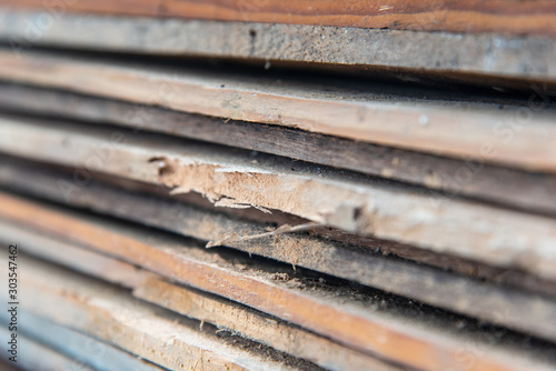 Obraz na plátne Closeup Layered wooden planks Destroyed by a Ambrosia beetle