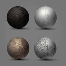 Textured Stone Balls, Planets,...