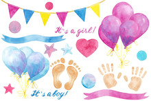 Watercolor Hand Drawn Set With Elements For Baby Shower Party Isolated On White Background. Nursery Illustration, Good For Greeting Card, Poster, Print, Invitation