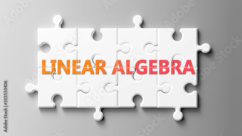 Linear algebra complex like a puzzle - pictured as word Linear algebra on a puzz Wallpaper Mural