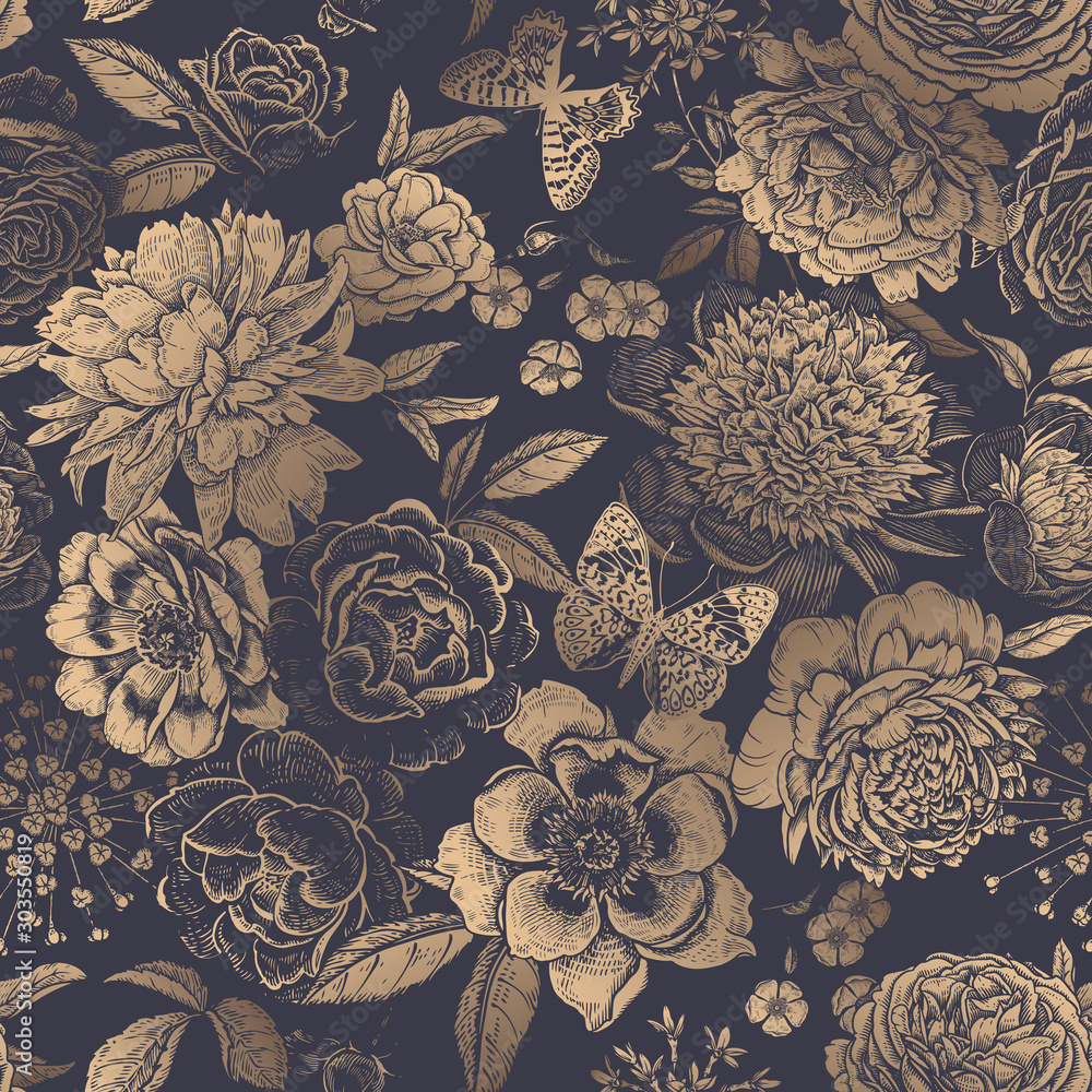 Fototapety, obrazy: Vintage floral seamless pattern. Peonies, roses and butterflies.