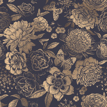 Vintage Floral Seamless Pattern. Peonies, Roses And Butterflies.