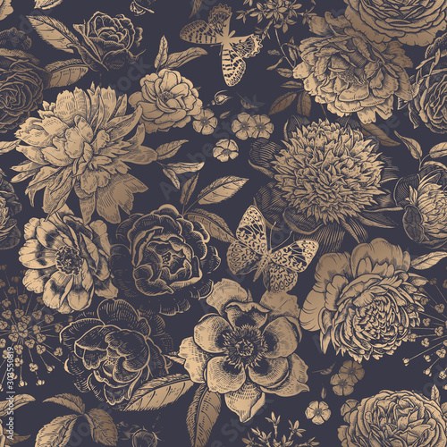 Photographie  Vintage floral seamless pattern. Peonies, roses and butterflies.