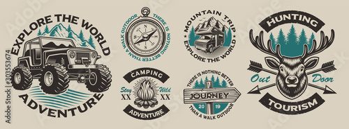 Set of vector vintage logos for the camping theme Fototapete