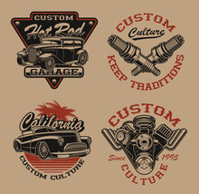 Set Of Vector Logos In Vintage...