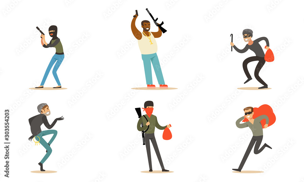 Fototapeta Masked Criminal Characters, Bandits And Gangsters With Guns Vector Illustration Set Isolated On White Background