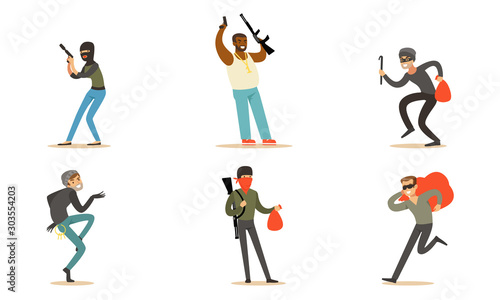 Photo Masked Criminal Characters, Bandits And Gangsters With Guns Vector Illustration