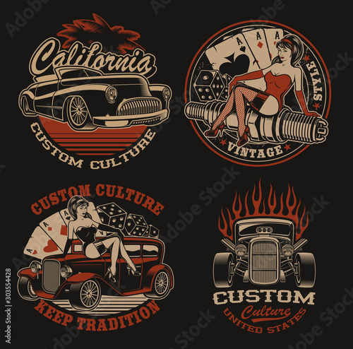 Photo Set of coloured  logos for shirt designs in vintage style