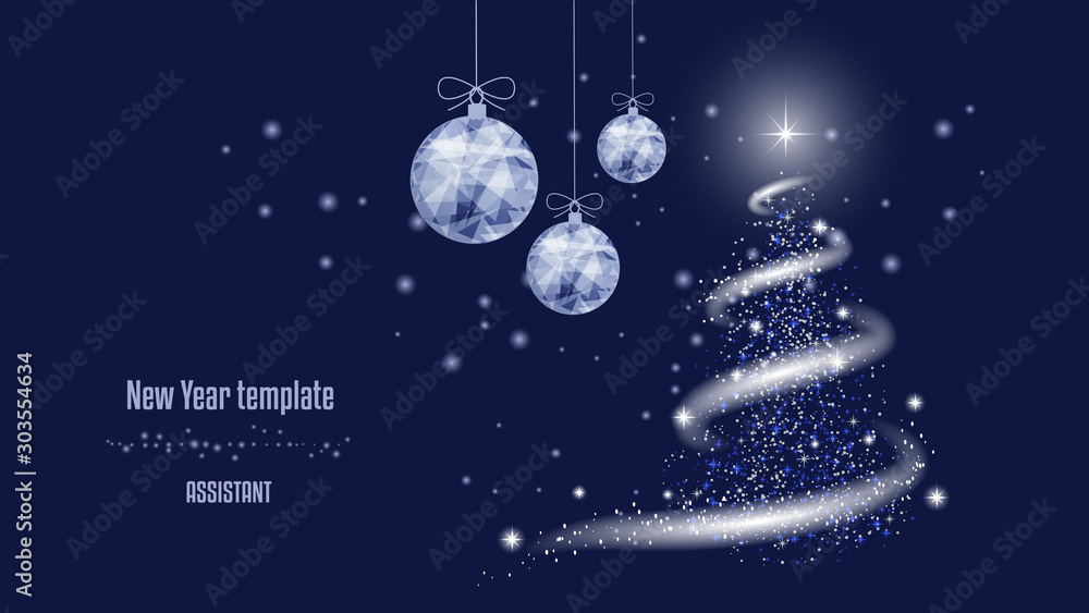 Fototapeta  Template for New Year or Christmas project, snow, stars, New Year tree, blizzard, New Year balls. Background of beautiful dark blue night sky.