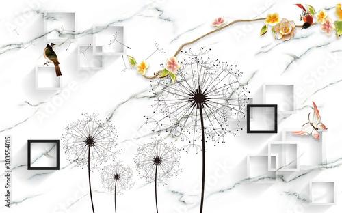 projekt-tapety-3d-z-florami-na-tle-fototapety