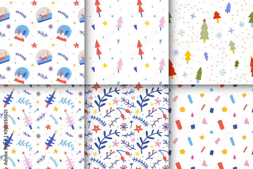 Set of scandinavian christmas seamless vector patterns. Cute simple winter backgrounds for kids, glass balls, fir trees, floral ornaments, abstract confetti, good as wrapping paper.