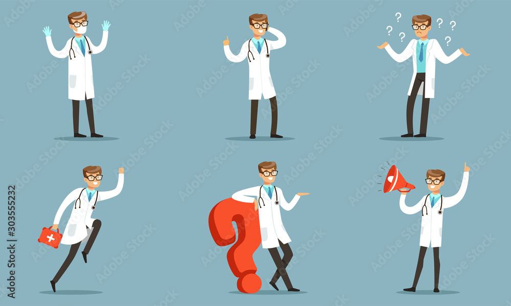 Fototapety, obrazy: Doctor Character In Different Actions Pondering A Patients Diagnoses Vector Illustration Set Isolated On Blue Background