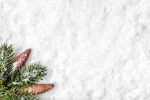 Christmas Background With Snow And Winter Fir Tree Branch, Flat Lay, Top View