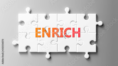 Fényképezés Enrich complex like a puzzle - pictured as word Enrich on a puzzle pieces to sho