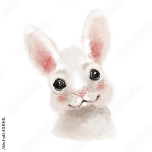 Cute hand drawn bunny, rabbit, woodland watercolor animal portrait Wall mural