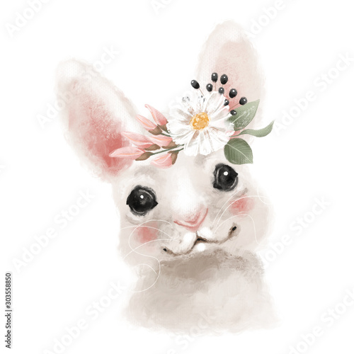 Cute hand drawn bear in floral wreath, flowers bouquet, woodland watercolor animal portrait Fotomurales