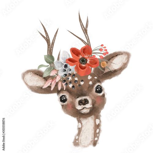 ladny-recznie-rysowane-jelenia-plowy-w-kwiatowy