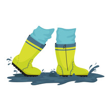 A Man In Rubber Boots Is Walking Through Puddles. Rainy Weather. Vector Illustration.