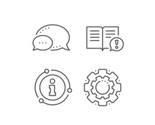 Interesting Facts Line Icon. Chat Bubble, Info Sign Elements. Exclamation Mark Sign. Book Symbol. Linear Facts Outline Icon. Information Bubble. Vector