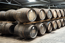 Old Wooden Barrels In A Whisky...