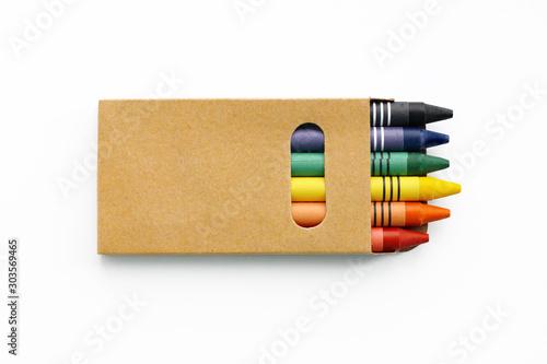 Fotografia A small box of color pencils. Mock up