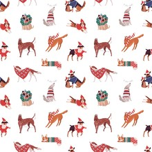 Christmas Dogs Vector Seamless Pattern. Puppies Of Different Breads In Funny Xmas Costumes Background. Dachshund, Dalmatians, Pug And Corgi. Festive Winter Holiday Wrapping Paper Design.