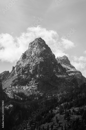 Snow capped mountain in black and white