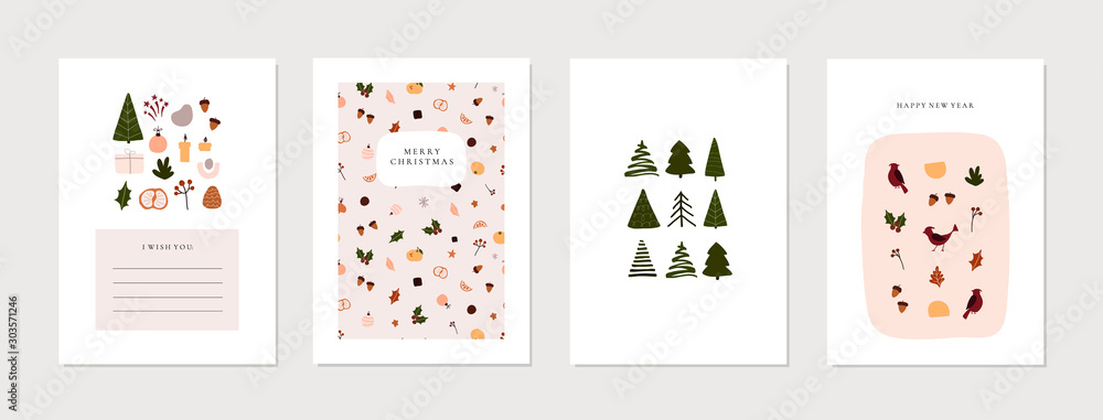 Fototapeta Set of christmas new year winter holiday greeting cards with xmas decoration. Vector abstract trendy illustration in minimalistic hand drawn flat style