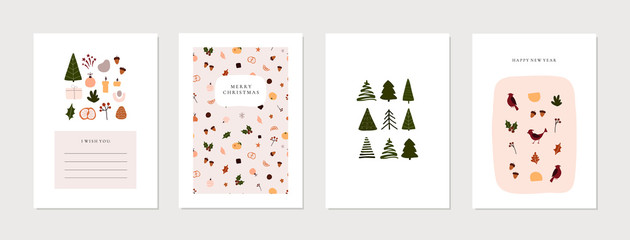 Set of christmas new year winter holiday greeting cards with xmas decoration. Vector abstract trendy illustration in minimalistic hand drawn flat style