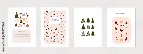 Obraz Set of christmas new year winter holiday greeting cards with xmas decoration. Vector abstract trendy illustration in minimalistic hand drawn flat style - fototapety do salonu