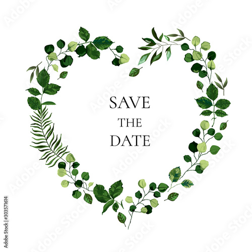 Cuadros en Lienzo Wedding floral invite card save the date design with botanic green leaf herbs heart shape wreath