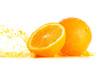 Ripe oranges and splash of juice on white background