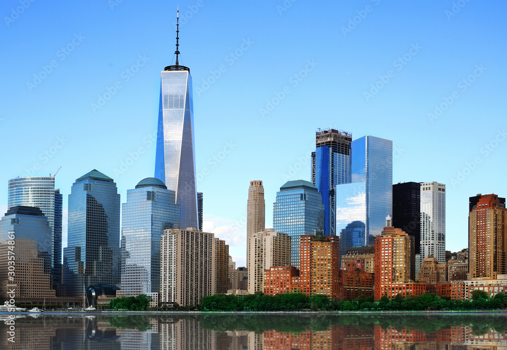 Fototapety, obrazy: New York view of the Manhattan and the reflection in the Hudson river