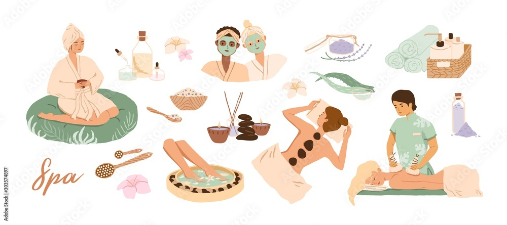 Fototapeta Spa center service flat vector illustrations set. Beauty salon visitors and workers cartoon characters. Wellness center procedures and equipment pack. Hot stone massage, foot bath and facial masks.