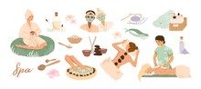 Spa Center Service Flat Vector Illustrations Set. Beauty Salon Visitors And Workers Cartoon Characters. Wellness Center Procedures And Equipment Pack. Hot Stone Massage, Foot Bath And Facial Masks.