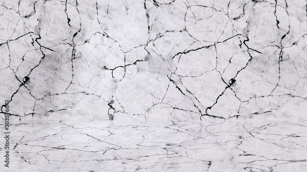 Fototapety, obrazy: White marble room. Marble texture wall and floor 3d rendering