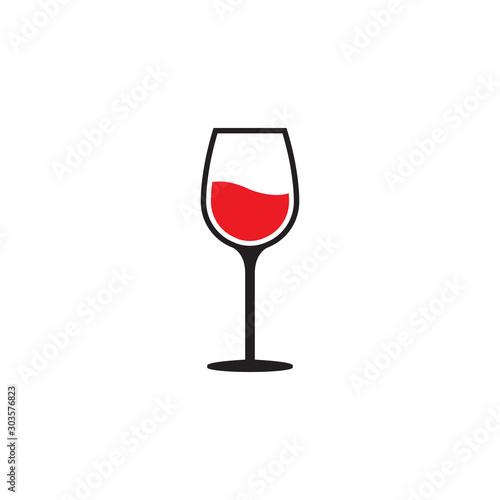 Obraz Red wine glass icon  - fototapety do salonu