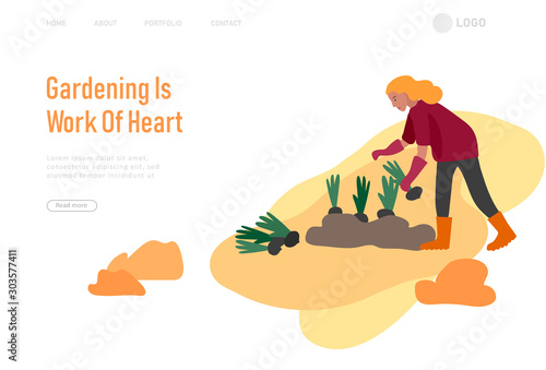 Obraz Landing page template with People gathering crops or seasonal harvest, collecting ripe vegetables. Men, women work on a farm. Agricultural workers in autumn. Cartoon vector - fototapety do salonu